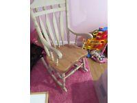 Shabby chic rocking chair in cream