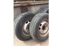 4x steel wheels 6 2 tyres good 2 bad
