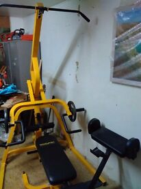 Bodymax multi gym, excellent condition, new incline/decline bench, new weights 140kg, preacher bench