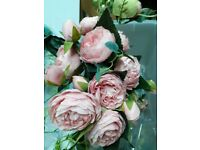 Artificial Light Pink Peonies Roses x 10 used