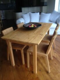 IKEA 4seat Wooden Dining Table and 4 Rattan Chairs (see delivery note)