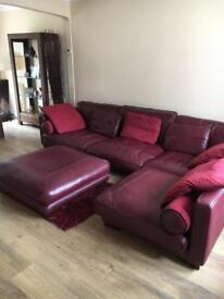 Large burgundy suite + large foot stool