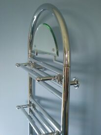 Art Deco style chrome ladder radiator with three towel rails