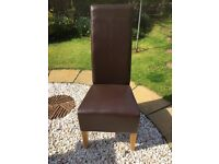 4 Dining Table Chairs, Next, Chocolate Brown Faux Leather