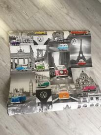 2x rolls of wallpaper colour pop black and white retro vw Eiffel Tower Paris London modern