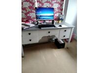 Scumble Goosie Bespoke desk, painted in pale grey with a slightly darker grey surface