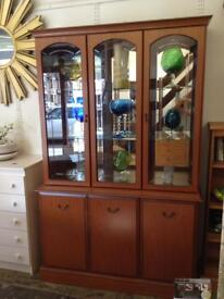 Glass Display cabinet in mid brown