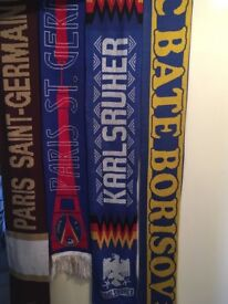 32 football scarves , perfect for man cave, feature wall and for a beginners collection.