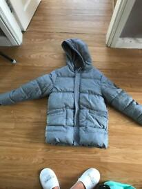 Grey fleeced lined coat Age 10-11