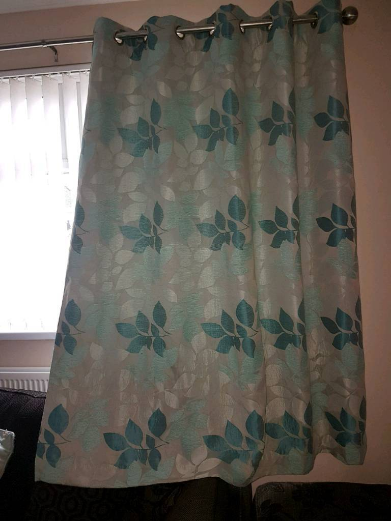 Blue patterned curtains