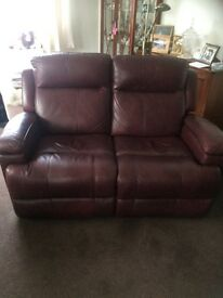 Two seater leather electric recliner