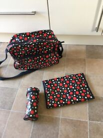 Changing bag- navy and spots