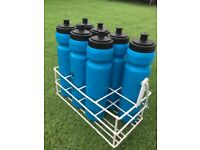 7 Mitre Water Bottles And Metal Carrier