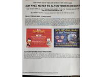 2 x Alton towers tickets 8th Sept