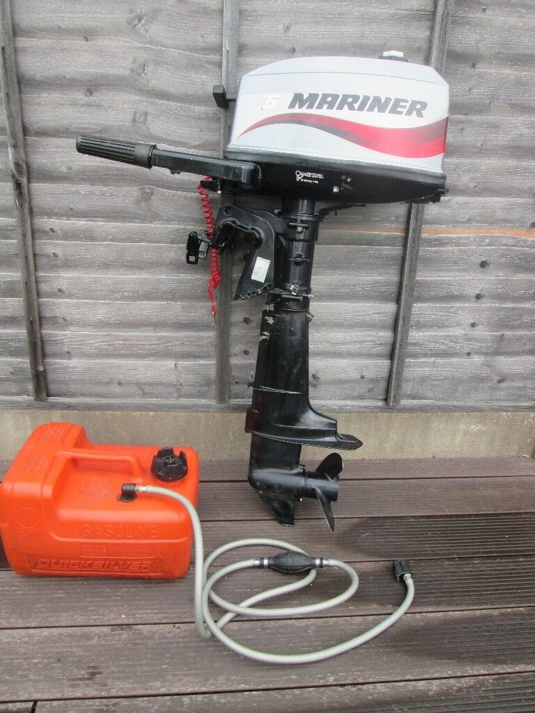Mariner 5hp Two stroke outboard motor, little used, as new condition.