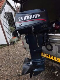 30HP EVINRUDE OUTBOARD ENGINE, LONG SHAFT, ON CONTROLS, FUEL TANK, LINE, COMPLETE PACKAGE.