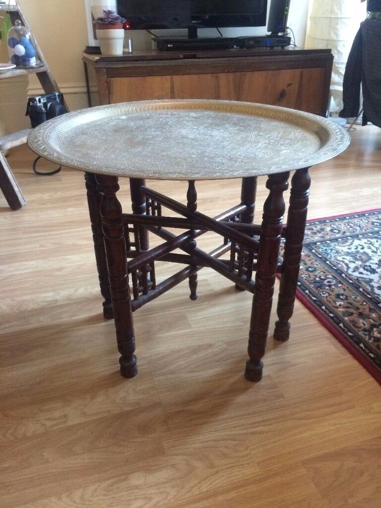 Antique Moroccan Benares Engraved Brass Tray Table With