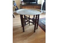 Antique Moroccan Benares Engraved Brass Tray Table with Decorative Folding Wooden Legs
