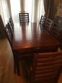 Laura Ashley Dining Table, eight leather chairs and matching sideboard