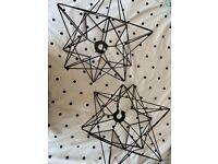 2 x metal star pendant light shades. Brand new!