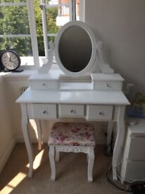 Chic white dresser with mirror and drawers