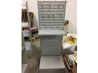 GREY METAL STAND FREE STANDING FOR SHOP RETAIL 1 SHELF AND 8 HOOKS