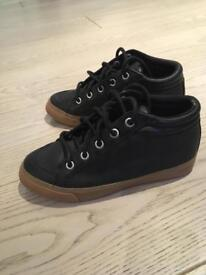 Black leather high tops kids size 13