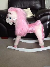 Children Small Pink and white Rocking Horse Great Traditional Toy in good used condition.