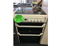 INDESIT 60CM CEROMIC TOP ELELCTRIC COOKER IN WHITE