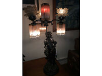 Stunning Unique Art Nouveau Bronze Classical Lady Table Lamp with Glass Floral Crystal Drop Shade