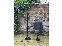 Matching black standard lamp and table lamp