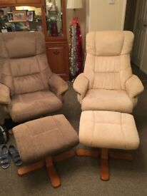 Reclining chair and matching footstool, very good condition.