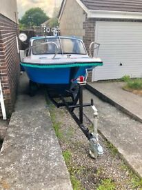 16 ft Taylor 49 fishing boat . With trailer , no engine