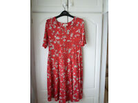 Next knee length red floral maternity dress size 12