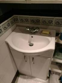 Bathroom vanity basin sink with mixer tap waste and side unit