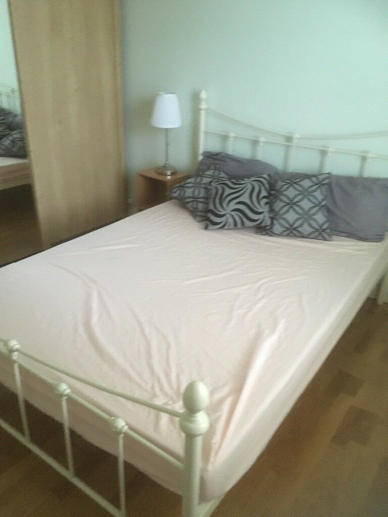 Metal Framed Double Bed And Memory Foam Mattress In Knightswood