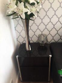 Black glass side table/ storage