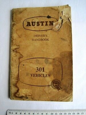 Vintage Austin 301 Vehicles Drivers Handbook Servicing Service Guide