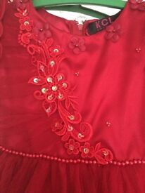 Beautiful Girls Red Dress, Fully Lined, Gens, sequins, lace. Age 4 Years