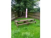 x2 garden pub benches. and parosol