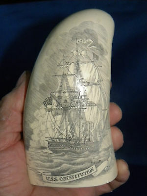"""SCRIMSHAW REPLICA WHALE TOOTH """" OLD IRONSIDES"""" 7 Inches around the curve"""