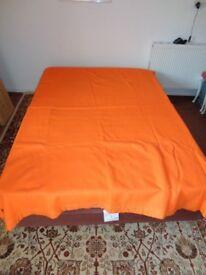Vintage Whitwarm bright Orange wool blanket with decorative stitch and trim