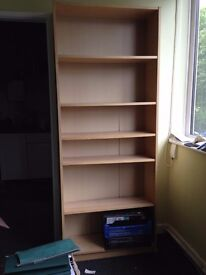 Tall Bookcase 5 shelves, light wood 200cm x 80cm