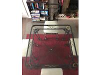 Metal/glass dining table with 4 chairs