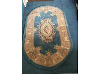 Blue Rug with cream and beige pattern