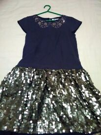 John lewis navy blue sequence party dress size 9 years excellent condition