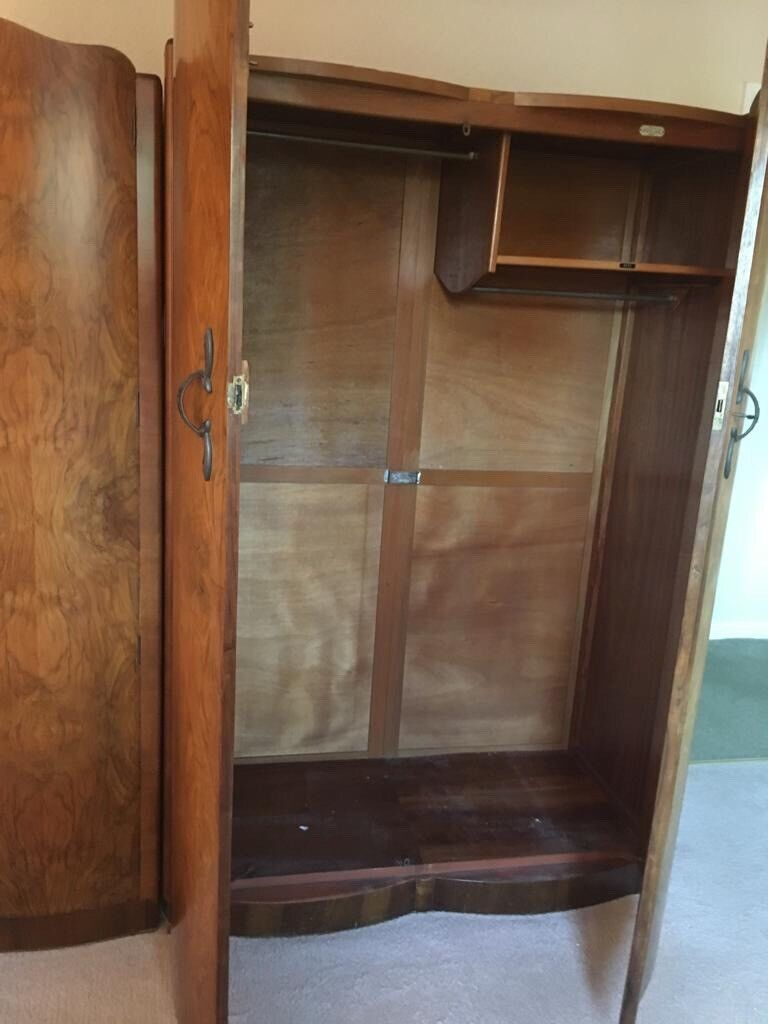 Antiques Antique Walnut Wardrobes And Dressing Table