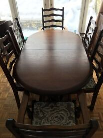 New Plan Extendable dining table with 6 chairs.