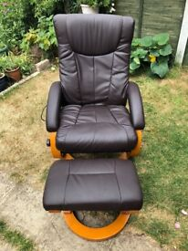 Brown leather reclining chair and foot stool