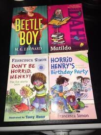 Beetle boy,Matilda & horrid Henry books